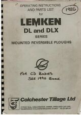 LEMKEN MOUNTED REVERSIBLE PLOUGH DL & DLX SERIES OPERATORS MANUAL & PARTS LIST