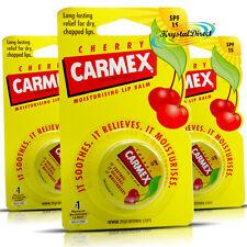 3x Carmex Moisturising Cherry Lip Balm Pot SPF15 Dry Chapped Cracked Lips 7.5g