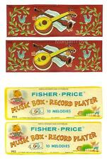 VINTAGE FISHER-PRICE 995 MUSIC BOX RECORD PLAYER REPLACEMENT LITHOS - STICKERS