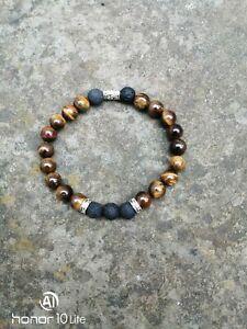 Tiger eye Lava mens jewelry Cristal Healing protection gift Birthstone Yoga...