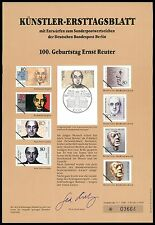 BERLIN KÜNSTLER-ETB 1989/2 ERNST REUTER KÜNSTLER-ERSTTAGSBLATT LTD. EDITION