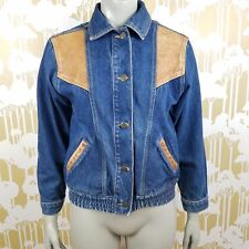 Vintage 1990'S Street Worn Distressed  Denim Jean Leather Jacket Women's Large