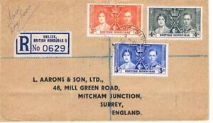 1937 - British Honduras Coronation set on - FDC