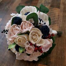 Navy Anemone Pink Rose Sola Wood Bride Bouquet Boutonniere Corsage Wedding Set