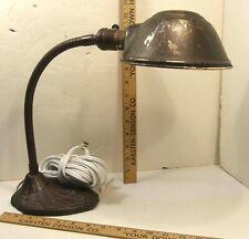 VINTAGE INDUSTRIAL ART DECO FARIES MFG GOOSENECK DESK LAMP CAST IRON BASE