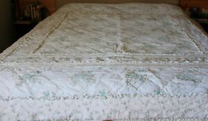 Simply Shabby Chic Quilt White Blue Floral Ruffles Ashwell King Size