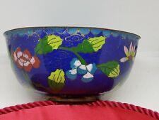 Antique Cloisonne Bowl Blue Floral 4.5 Inches