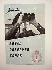 More details for original vintage recruitment leaflet join the royal observer corps 1954 unused