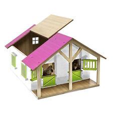 Van Manen Kinder Spielzeug Holz Pferdestall Stall Scheune M1:24 mit rosa Dach