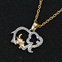 Elephant Pendant Fashion Necklace Crystal Rhinestone Elephant Charm Jewelry Gift