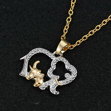 Sweet Elephant Family Necklace Crystal Rhinestone Pendant Fashion Jewelry Gift