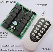 DC 12V 12CH Remote Switch 10A Relay Receiver NO COM NC 315433 wireless Lighting