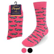 Socks Alligator Print Novelty in Pink