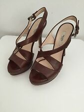 PRADA 100% AUTHETIC BROWN LEATHER STRAPPY PLATFORM HEELS PUMPS SANDALS W 36 1/2