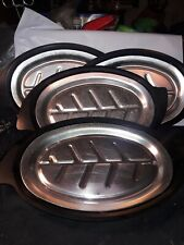 Set of 4 Nordic Ware Sizzler Platter Holder #310 Steak Fajita  Fish w/plates
