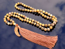 Leopard Skin Jasper Natural Gemstone Tassel Pendant Necklace Healing Stone