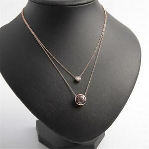 New Michael Kors Rose Gold Tone Two Row Crystal Logo Pendant Necklace