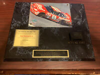 DALE EARNHARDT JR. RACE USED AUTHENTIC TIRE ON WALL PLAQUE with COA