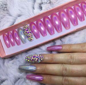 Pink Holographic Diamante Press On False XL Coffin Nails Set