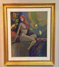 Acrylic on Canvas Original Framed Signed Painting Isaac Maimon La Figure Nue 1