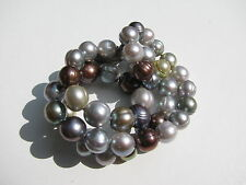 JC 925 CHINA MUTED COLORS GENUINE BAROQUE PEARL BEADS SINGLE KNOTTED NECKLACE