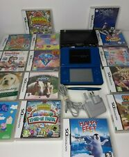 Nintendo DSi XL Blue Handheld Console Bundle +15 Games & Charger Free P & P