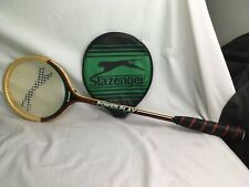 Vintage Slazenger Power Play Wooden Squash Racquet Original Head Cover 1980s VGC