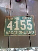 Vintage 1937 Green Maine license plate 4-155 Vacationland