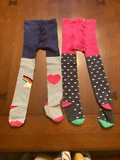 Two Pair Mini-Boden Girls Tights Hearts and Rainbows Size 4-5