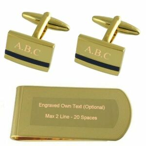 Blue Lapis Gold-Tone Cufflinks Money Clip Engraved Gift Set