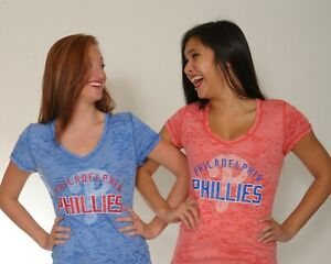 Philadelphia Phillies Burnout Top for Women Red or Royal