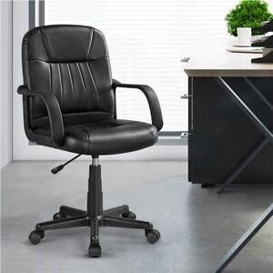 Ergonomic Desk Chair Swivel Faux Leather Office Chair Adjustable Study Chair