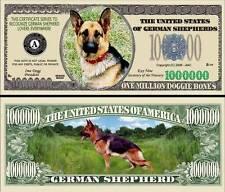 German Shepherd Dog Million Dollar Fake Funny Money Novelty Note + FREE SLEEVE
