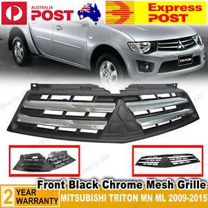 For Mitsubishi Triton MN 2009-2015 Front Chrome 2 Horizontal Bar Grille Black