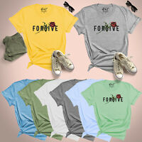 Forgive Slogan With Rose Womens T Shirt UK Plus Ladies Size 8-24 Blouse Tee Top