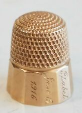 10K Gold Thimble Antique dated 1916 Isabel Original Size 8 nice