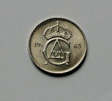 1965 SWEDEN Gustav VI Adolf Coin - 10 Ore - AU+ toned-lustre - tiny 15mm size