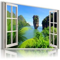 """W346 PARADISE IN THAILAND Window View Canvas Wall Art Picture Large SIZE 30X20"""""""