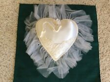 New Hand Crafted White Satin Wedding Ring Pillow Heart Shape Applique Pearl cord