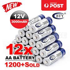 12x AA battery batteries Bulk Nickel Hydride Rechargeable NI-MH 3000mAh 1.2V