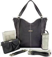Timi & Leslie Marcelle 7 Piece Faux Leather Baby Diaper Bag Set Black Edition