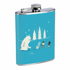 Winter Fun Em1 Flask 8oz Stainless Steel Hip Drinking Whiskey
