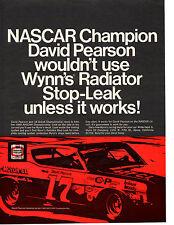 1969 FORD TORINO COBRA / DAVID PEARSON NASCAR CHAMPION ~ ORIGINAL  WYNNS AD