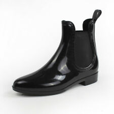 Fashion Women Girl Black Chelsea Boot Rain Ankle Boots Shoes Waterproof PVC Size