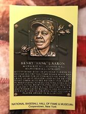 HANK AARON POSTCARD - BASEBALL HALL OF FAME INDUCTION PLAQUE - COOPERSTOWN 1982