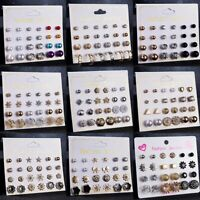 12 Pairs Fashion Rhinestone Crystal Pearl Ear Stud Earrings Women Ladies Jewelry