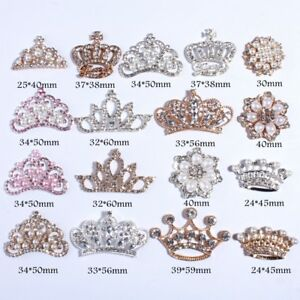 30PCS New Fashion Crown Rhinestone Buttons With Ivory Beads  Crystal Silver