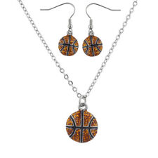 Lux Accessories Silver Tone Basketball Sports Necklace Earring Jewelry Set 2PC