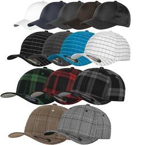 FLEXFIT Caps Pinstipe, Glen + Square Check, Tartan Plaid 15 Farben 2 Größen