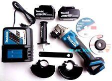 Makita XAG03 18V Brushless Angle Grinder, (2) BL1830 Batteries,  Charger 18 Volt